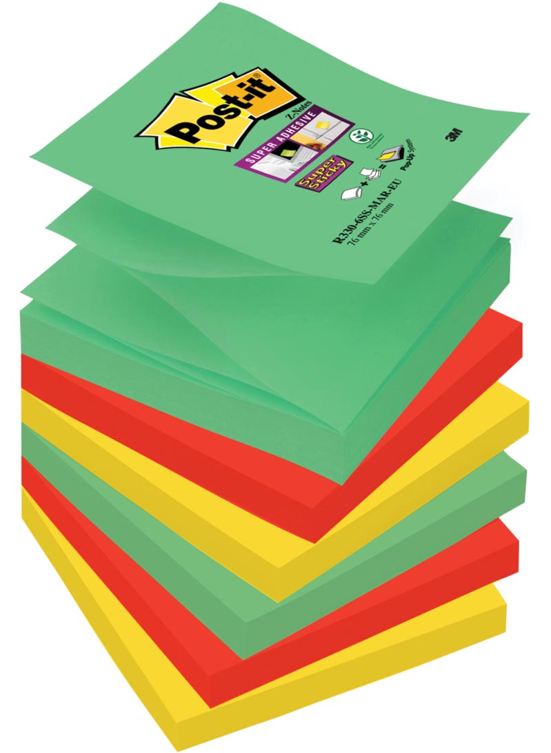 Post-it Super Sticky Z-Notes Marrakesh, ft 76 x 76 mm, geassorteerde kleuren, 90 vel, pak van 6 blok