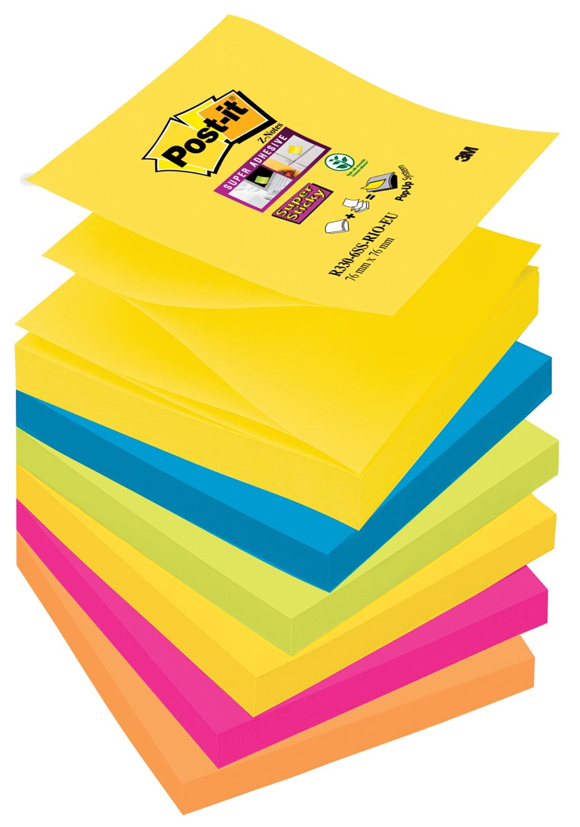 Post-it Super Sticky Z-Notes Rio, ft 76 x 76 mm, geassorteerde kleuren, 90 vel, pak van 6 blokken