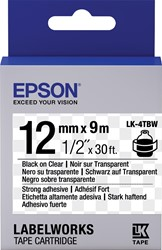 Epson tape ft 12 mm x 9 m, zwart op transparant, sterk klevend