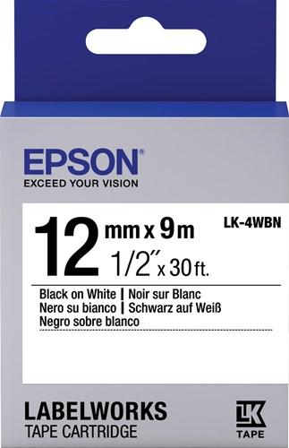 Epson tape ft 12 mm x 9 m, zwart op wit