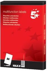5 Star witte etiketten ft 64,6 x 33,8 mm (b x h), 24 blad, rechte hoeken