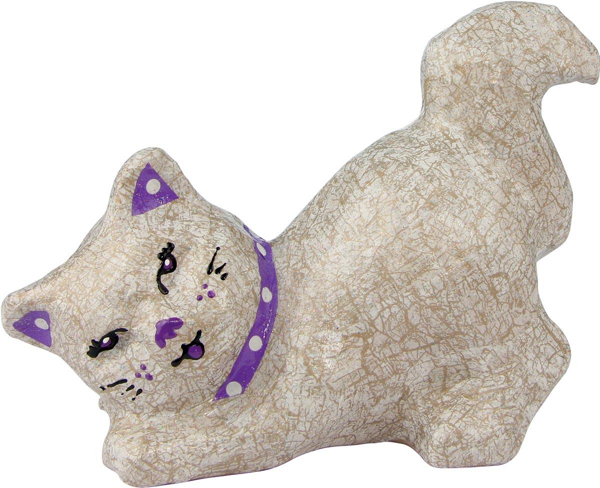 Décopatch kat liggend, papier-maché