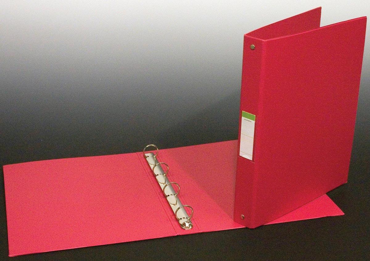 Ringmap voor ft A4, 4 ringen van 25 mm, uit PVC, rood