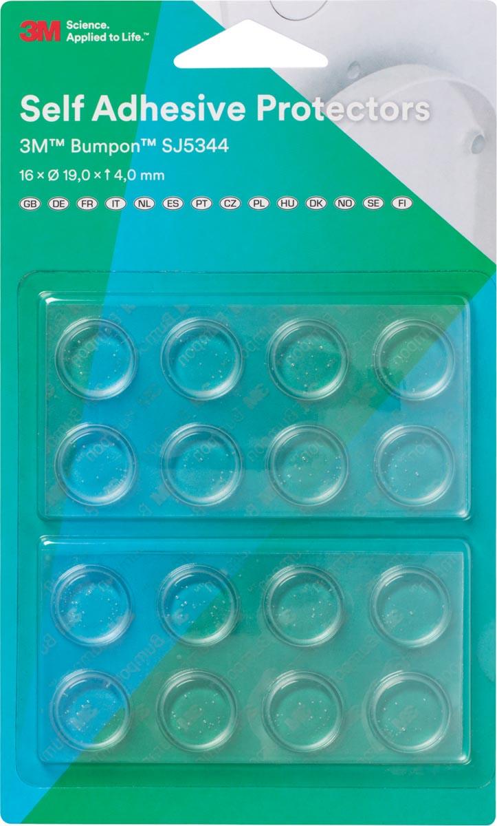 3M zelfklevende stootdoppen Bumpon, transparant, blister met 16 stuks