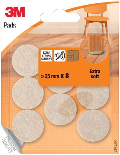 3M beschermende vloerpads, uit vilt, diameter 25 mm, blister van 8 stuks