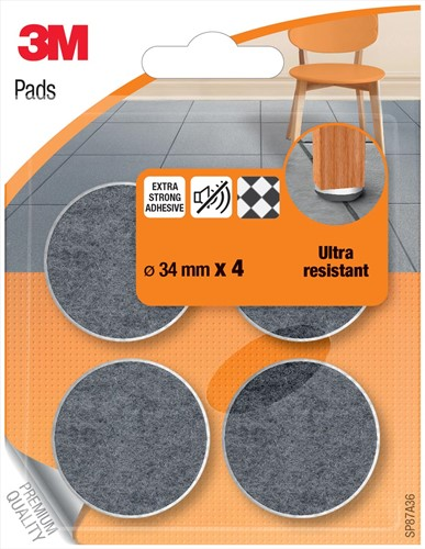 3M beschermende vloerpads, uit vilt, diameter 34 mm, blister van 4 stuks