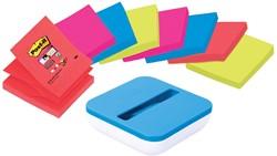 Post-it Z-Notes dispenser, voor ft 76 x 76 mm, geassorteerde kleuren, pak van 8 blokken