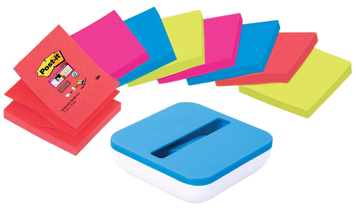 Post-it Z-Notes value pack: pak van 8 blokken, geassorteerde kleuren, inclusief gratis dispenser
