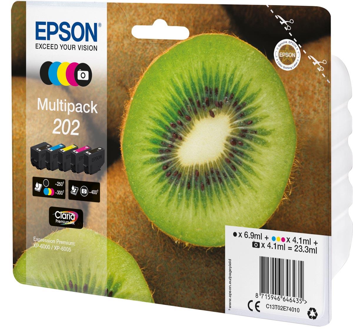 Epson inktcartridge 202, 250 - 400 pagina's, OEM C13T02E74010, 5 kleuren
