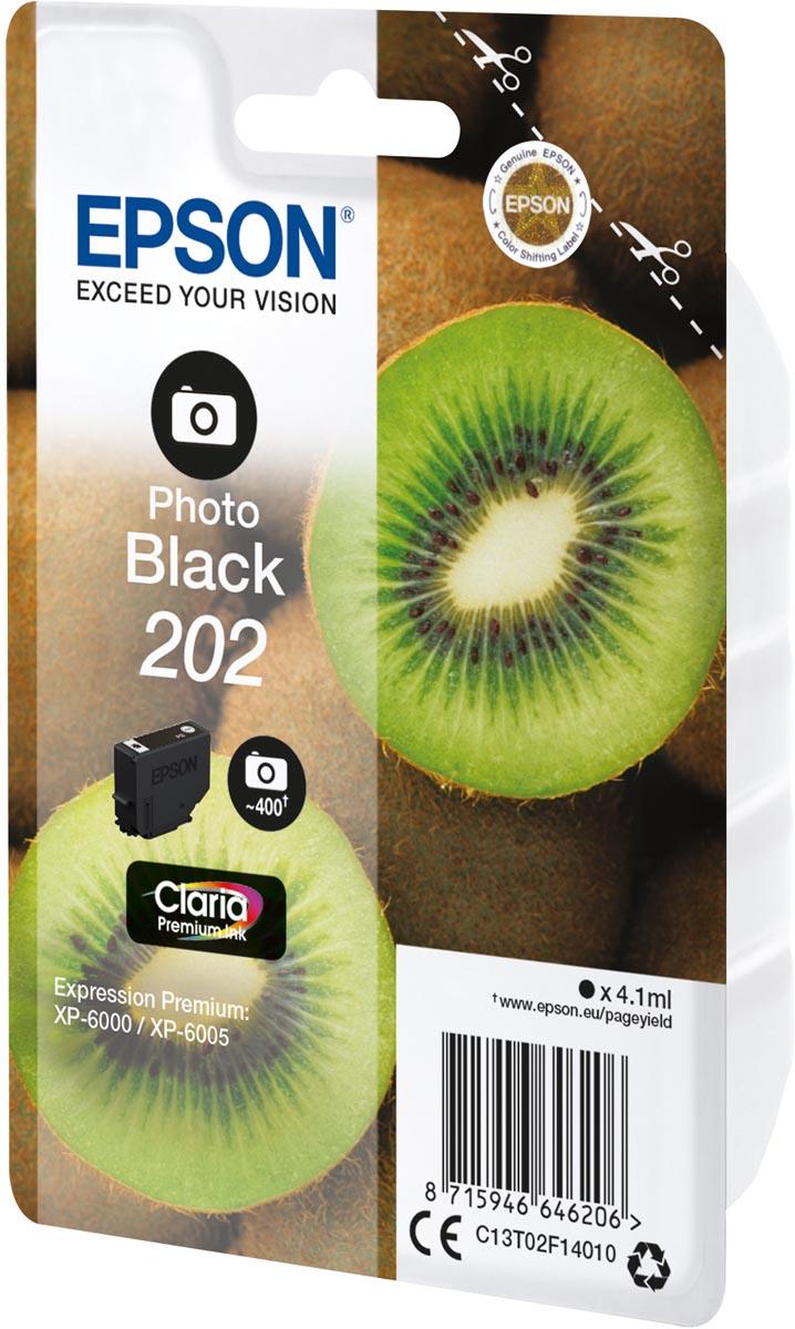 Epson inktcartridge 202, 400 pagina's, OEM C13T02E14010, Photo Black, zwart