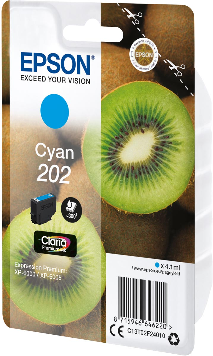 Epson inktcartridge 202, 300 pagina's, OEM C13T02F24010, cyaan