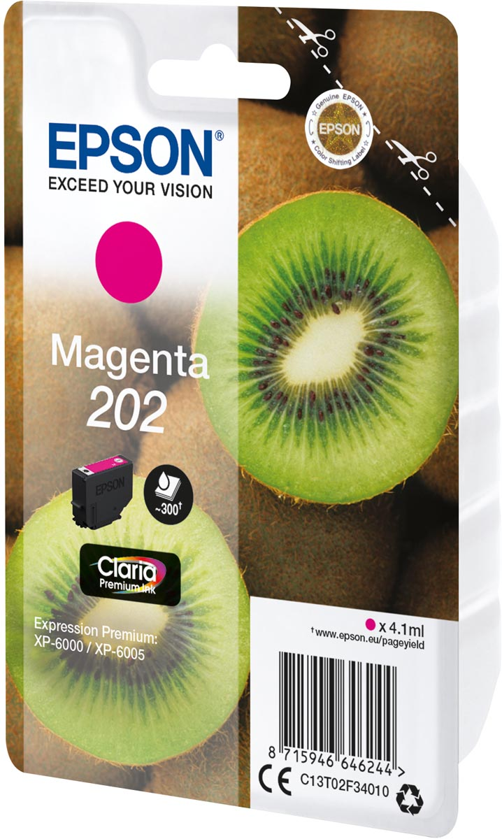 Epson inktcartridge 202, 300 pagina's, OEM C13T02F34010, magenta