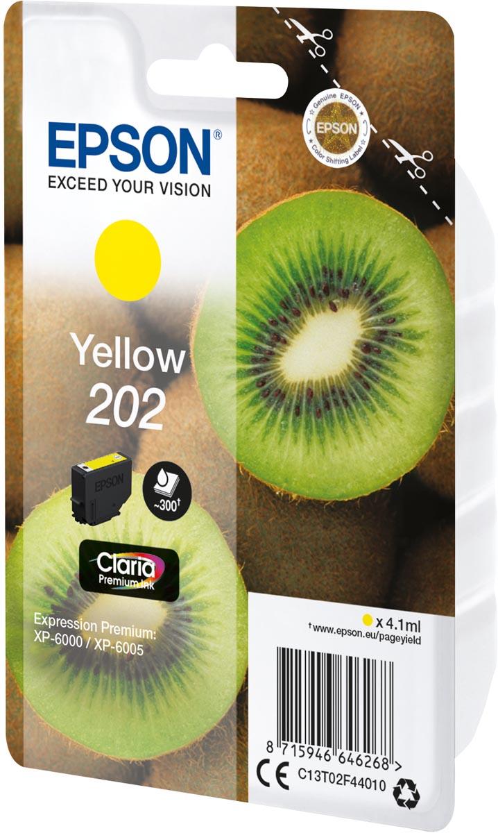 Epson inktcartridge 202, 300 pagina's, OEM C13T02F44010, geel