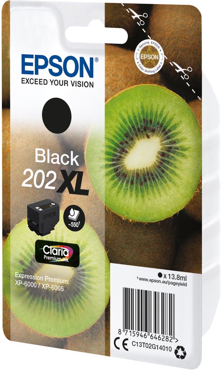 Epson inktcartridge 202XL, 550 pagina's, OEM C13T02G14010, zwart