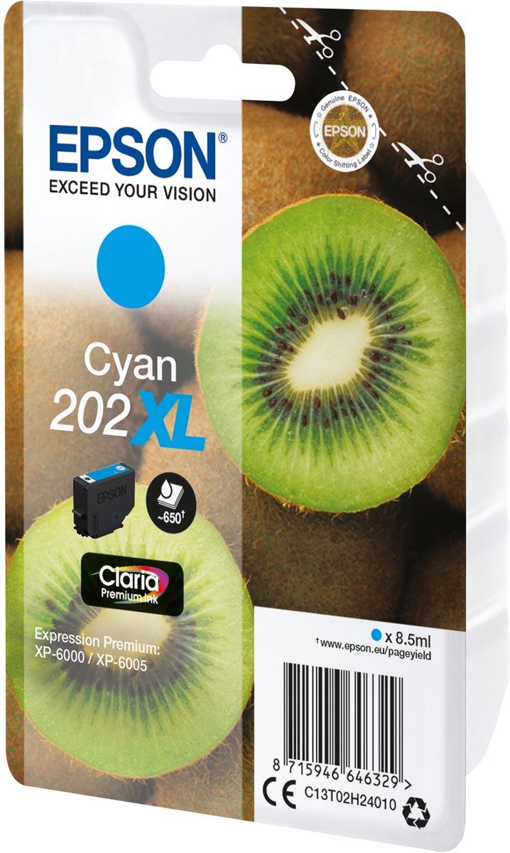Epson inktcartridge 202XL, 650 pagina's, OEM C13T02H24010, cyaan