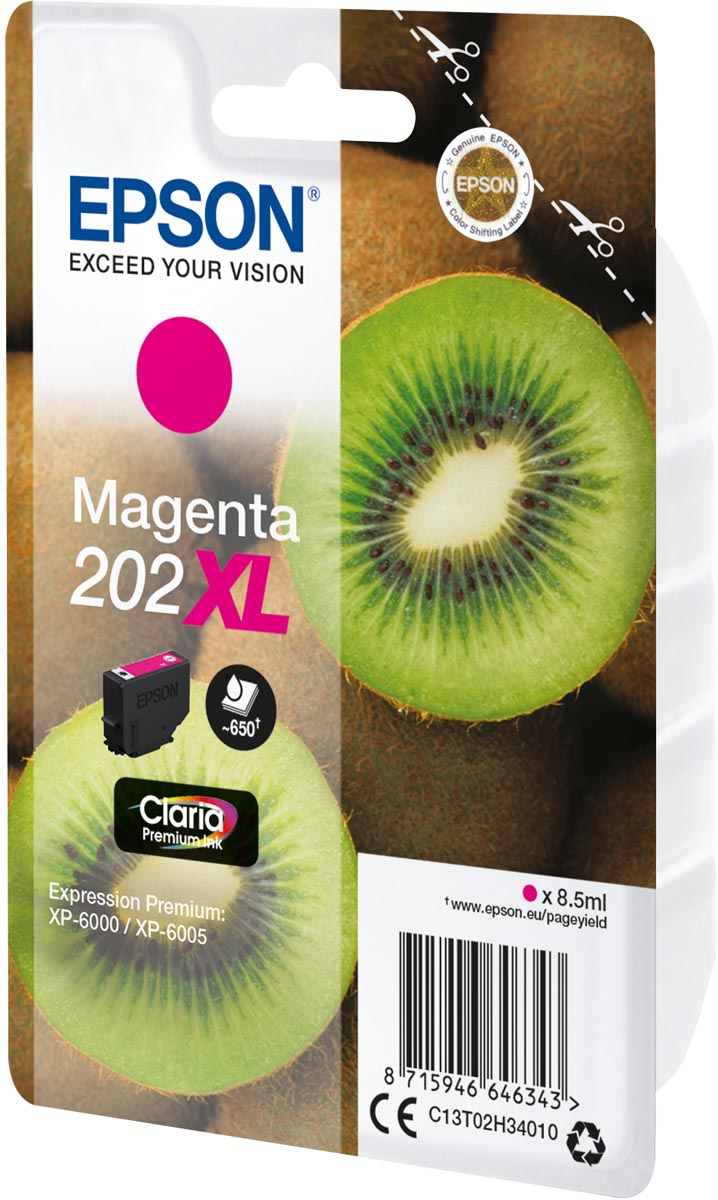 Epson inktcartridge 202XL, 650 pagina's, OEM C13T02H34010, magenta