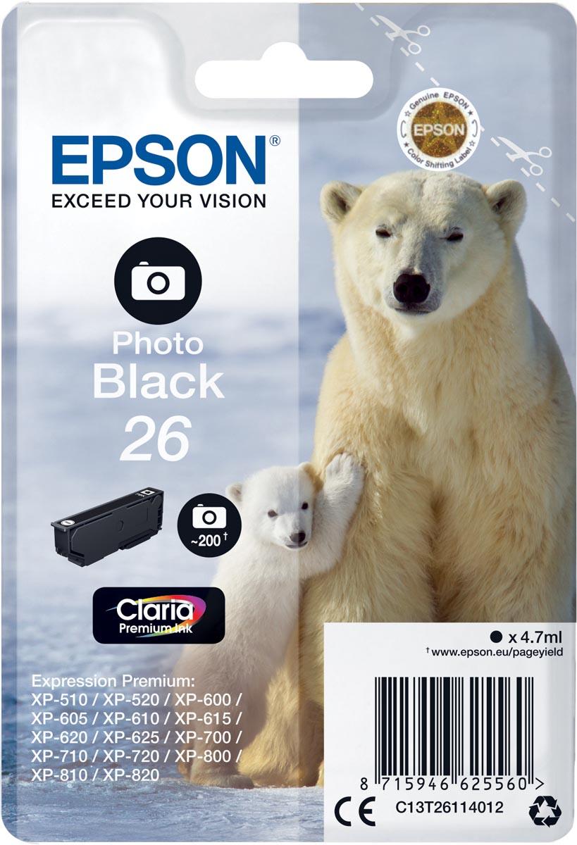 Epson inktcartridge 26 zwart, 200 paginas - OEM: C13T26114012