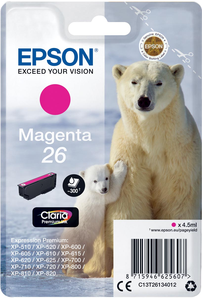 Epson inktcartridge 26 magenta, 300 paginas - OEM: C13T26134012
