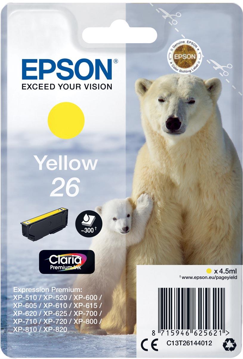 Epson inktcartridge 26 geel, 300 paginas - OEM: C13T26144012
