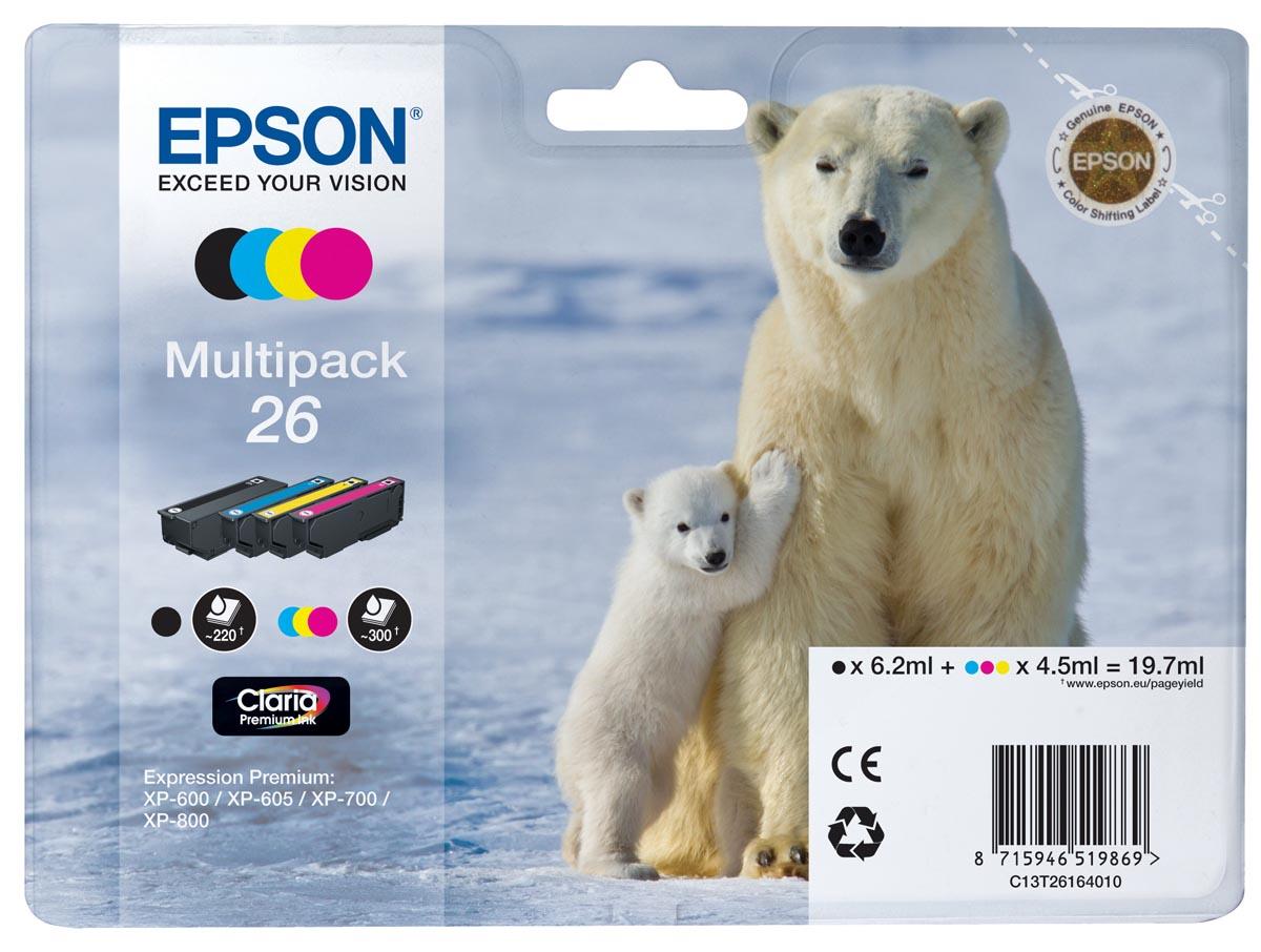 Epson inktcartridge T2616, 4 kleuren, 220-230 paginas - OEM: C13T26164010