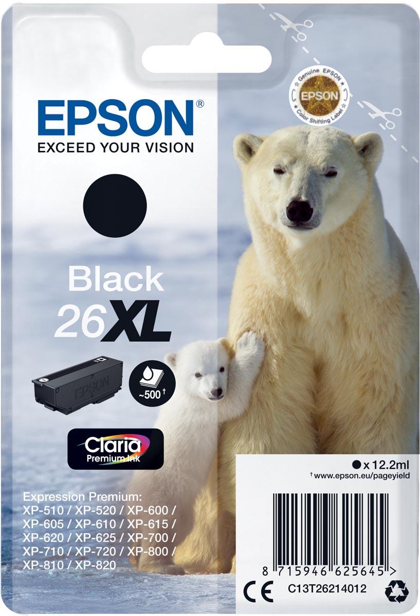 Epson inktcartridge 26XL zwart, 500 paginas - OEM: C13T26214012