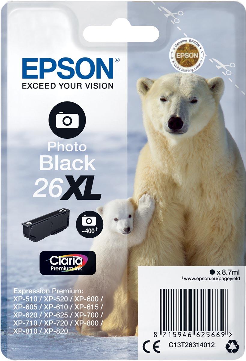 Epson inktcartridge 26XL foto zwart, 400 paginas - OEM: C13T26314012