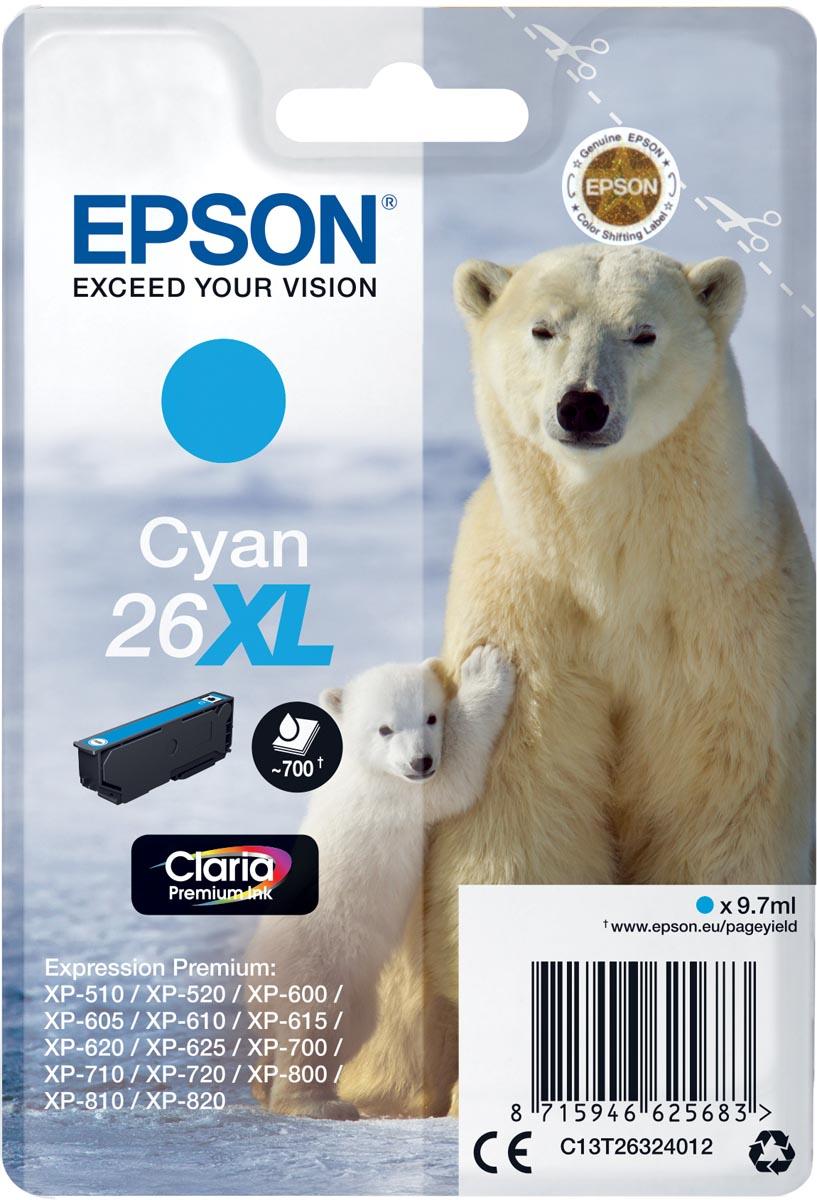 Epson inktcartridge 26XL cyaan, 700 paginas - OEM: C13T26324012