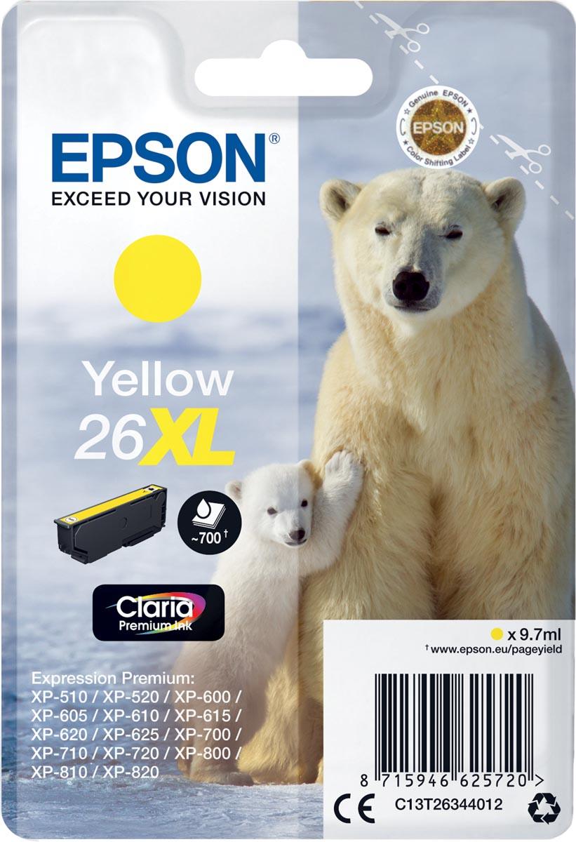 Epson inktcartridge 26XL geel, 700 paginas - OEM: C13T26344012