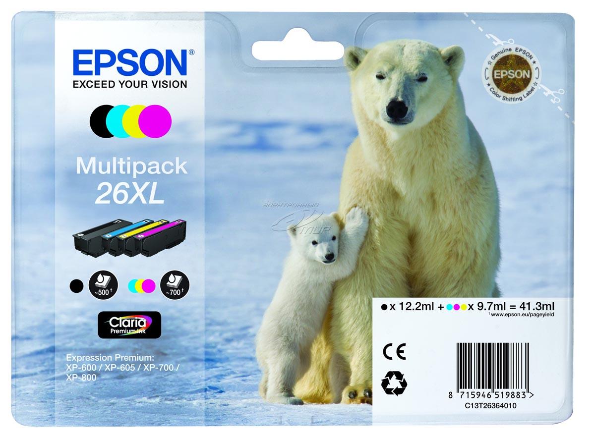 Epson inktcartridge MultiPack XL Bk,C,M,Y 26XL - C13T26364010