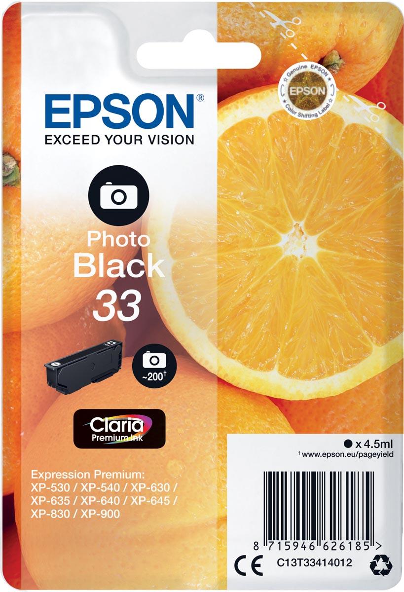 Epson inktcartridge 33 foto zwart, 200 paginas - OEM: C13T33414012