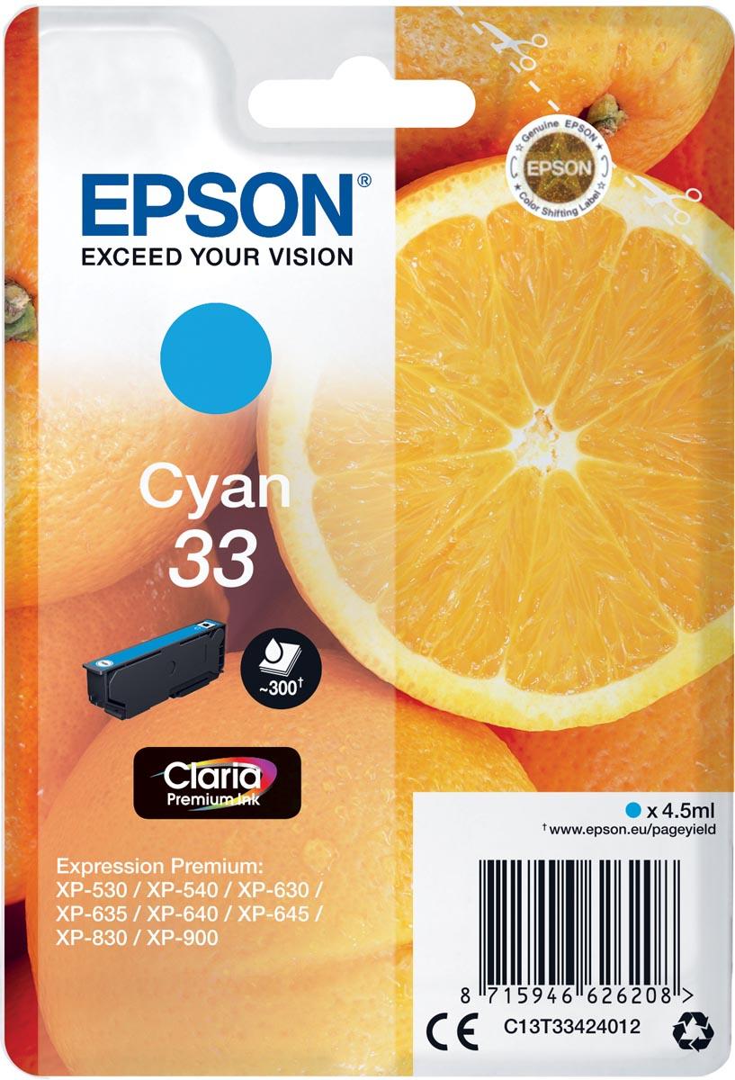 Epson inktcartridge 33 cyaan, 300 paginas - OEM: C13T33424012