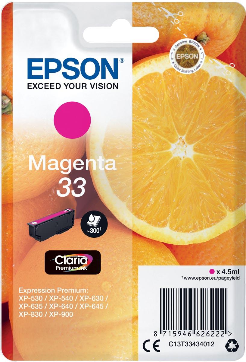 Epson inktcartridge 33 magenta, 300 paginas - OEM: C13T33434012