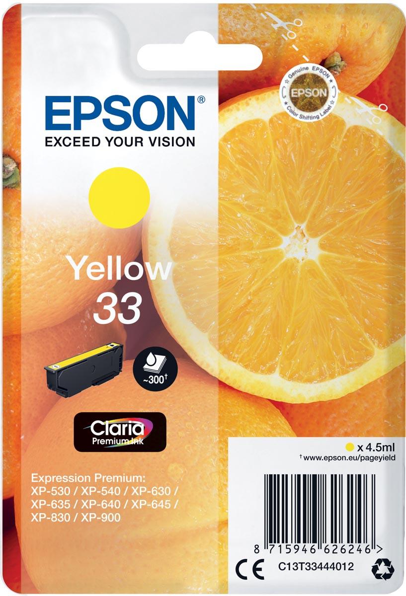 Epson inktcartridge 33 geel, 300 paginas - OEM: C13T33444012