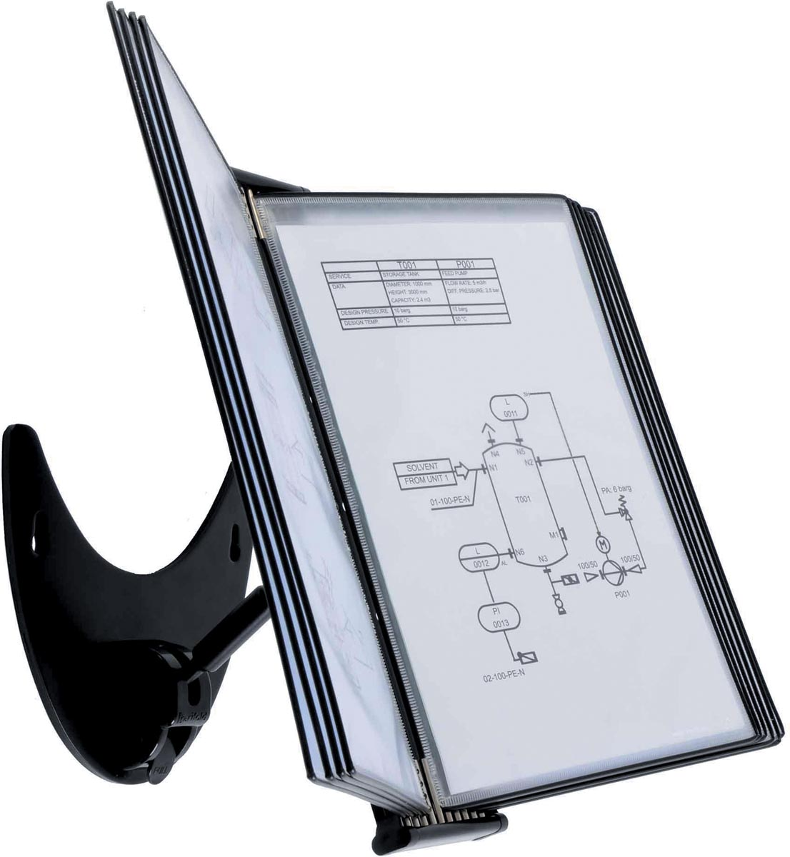 Tarifold 3D bureaustandaard, ft A4, 10 draaibare insteektassen uit PP, zwart