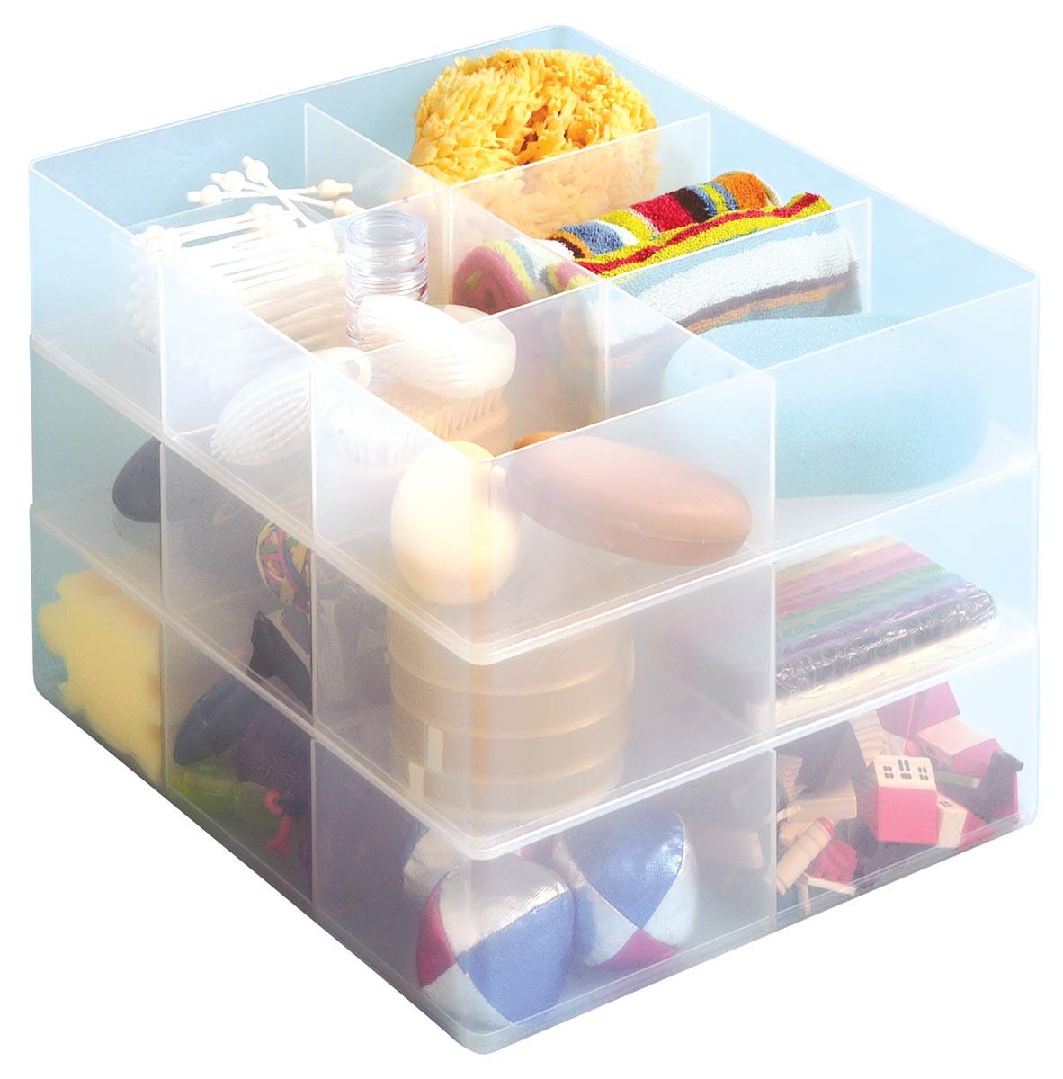 Really Useful Box, office divider met 6 vakjes, transparant