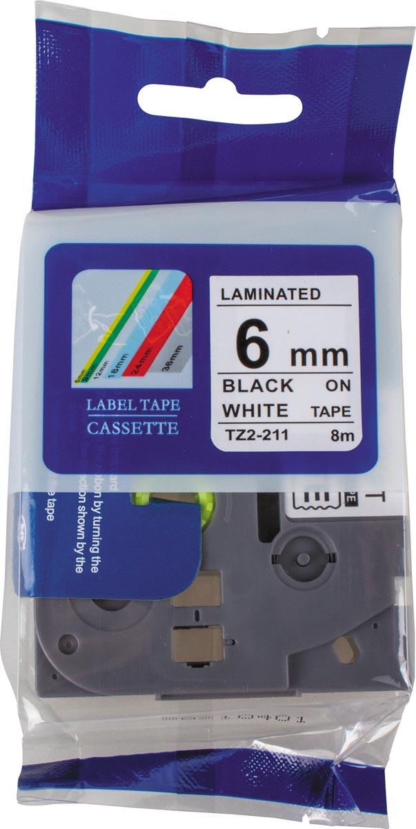 Compatible tape voor Brother P-touch, 6 mm, zwart op wit