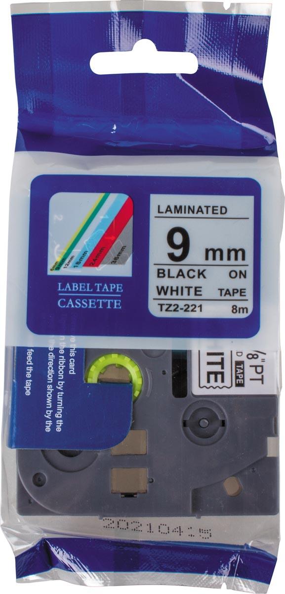 Compatible tape voor Brother P-touch, 9 mm, zwart op wit