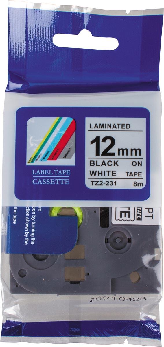Compatible tape voor Brother P-touch, 12 mm, zwart op wit