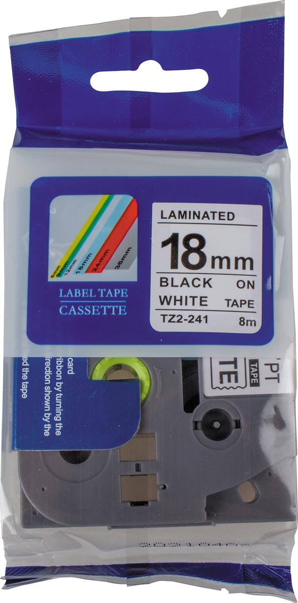 Compatible tape voor Brother P-touch, 18 mm, zwart op wit