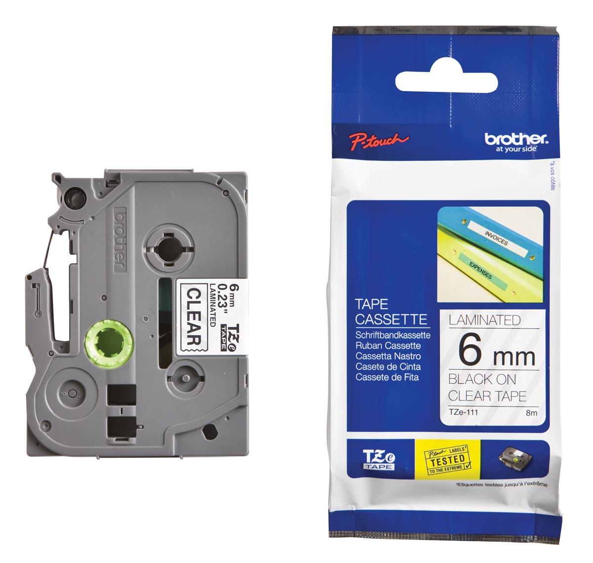 Brother TZe tape voor P-Touch 6 mm, zwart op transparant
