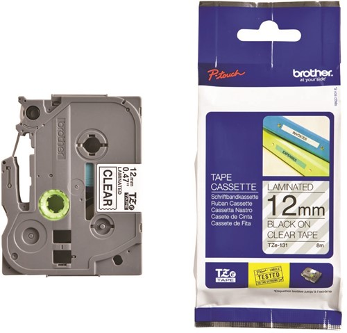 Brother TZe tape voor P-Touch 12 mm, zwart op transparant-2