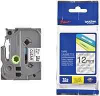 Brother TZe tape voor P-Touch 12 mm, zwart op transparant
