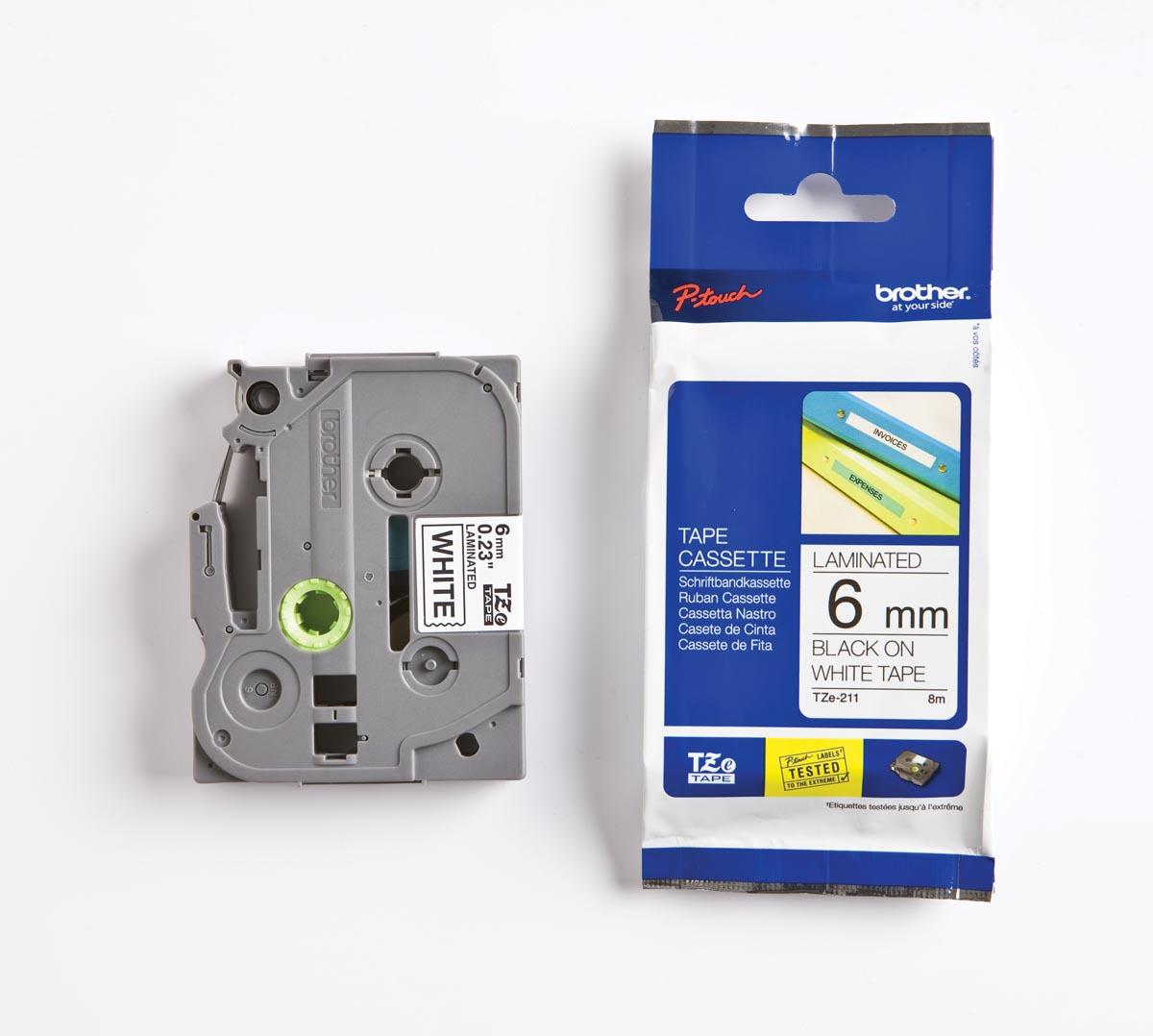 Brother TZe tape voor P-Touch 6 mm, zwart op wit