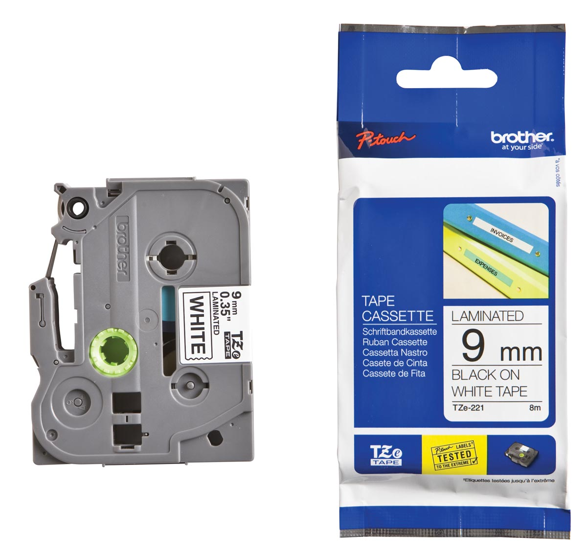 Brother TZe tape voor P-Touch 9 mm, zwart op wit