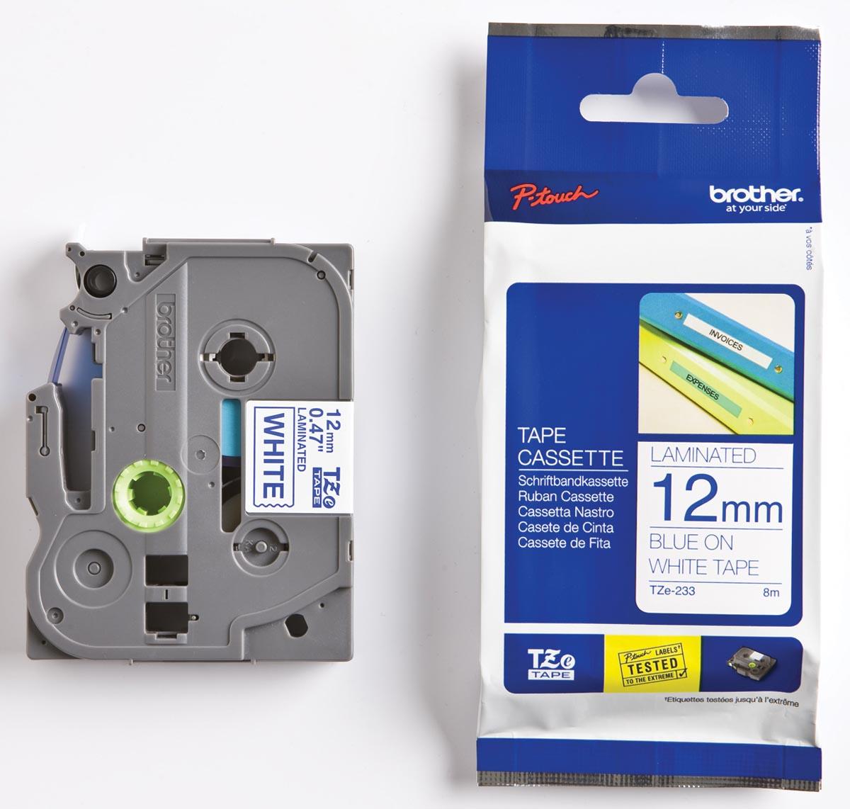 Brother TZe tape voor P-Touch 12 mm, blauw op wit