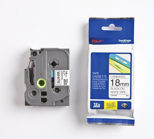 Brother TZe tape voor P-Touch 18 mm, zwart op wit