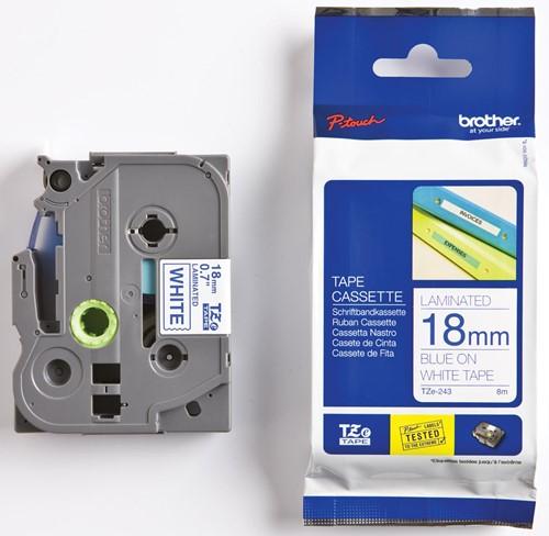 Brother TZe tape voor P-Touch 18 mm, blauw op wit