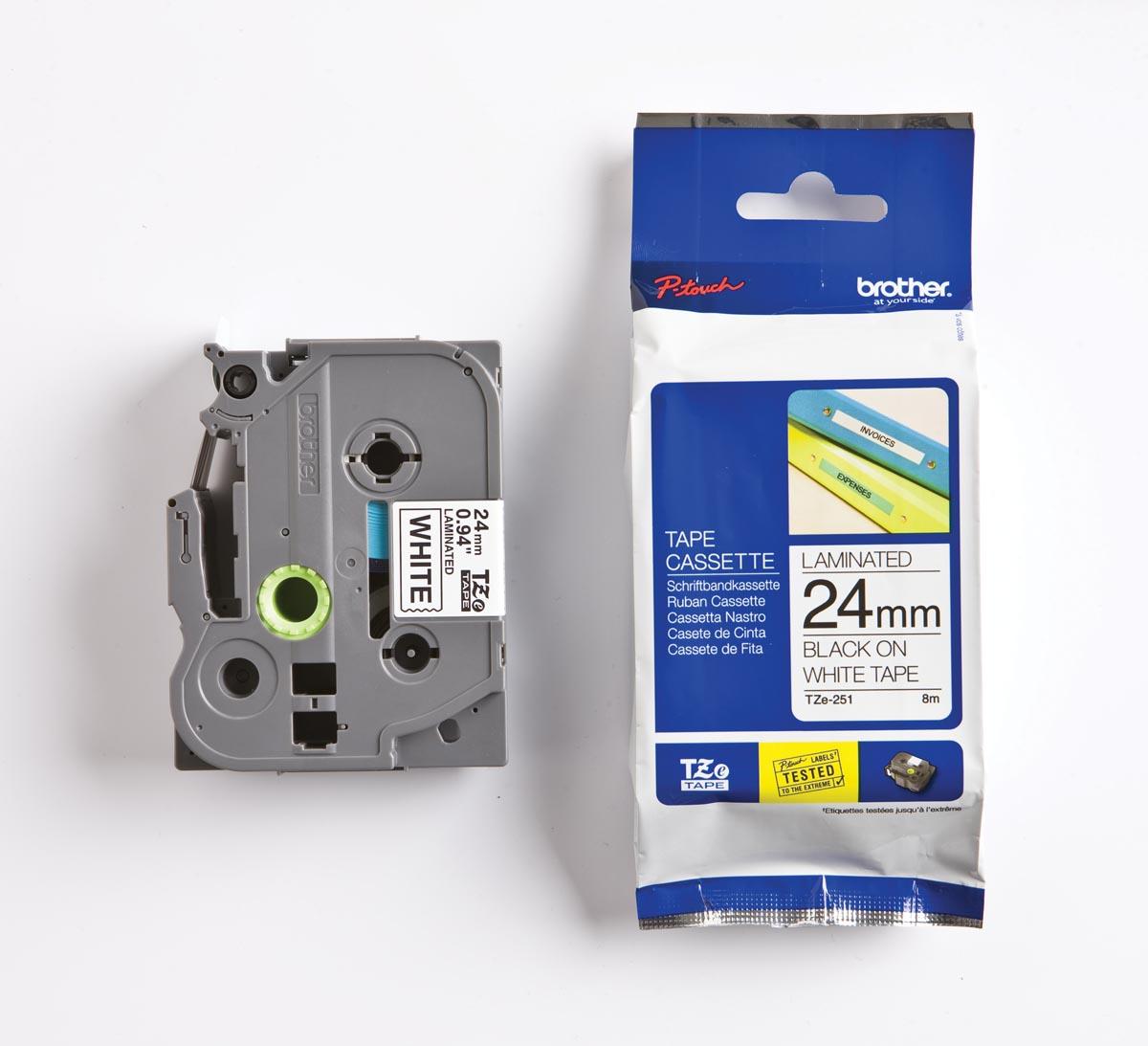 Brother TZe tape voor P-Touch 24 mm, zwart op wit