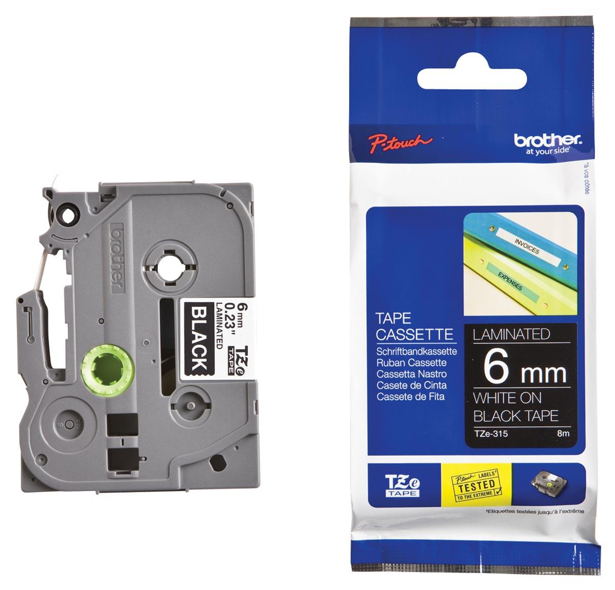 Brother TZe tape voor P-Touch 6 mm, wit op zwart