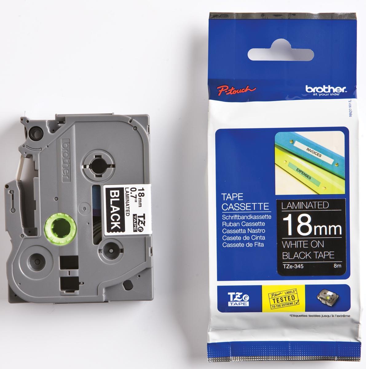 Brother TZe tape voor P-Touch 18 mm, wit op zwart